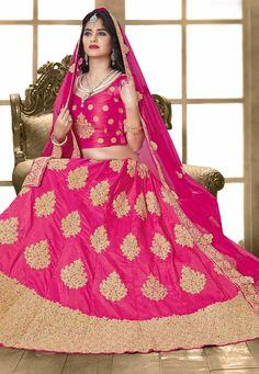 fa37cf058ccf2e Delightful Pink Online Designer Lehenga Choli Work  -Appealing Pink based  with Golden Embroidered with resham