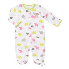 $7.99 carter's Baby Girl's White Elephant Print Sleep n' Play (Size: NB) at Blain's Farm & Fleet