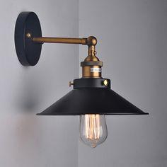 Retro Loft Vintage Industrial 1 Light Black Lampshade Wall Light  Bedside wall lamps E27 110V 220V For Decor lamps Wall sconce-in Wall Lamps from Lights & Lighting on Aliexpress.com | Alibaba Group