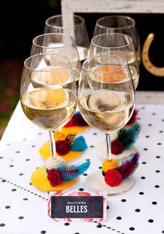 "Kentucky Derby Garden Party - DIY ""Southern Belle"" Wine Glasses #bighats #derby #14hands"