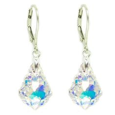 Queenberry Clear Aurora Borealis Swarovski Elements Crystal Sterling Silver Leverback Dangle Earrings ** Check this useful article by going to the link at the image. #Earrings