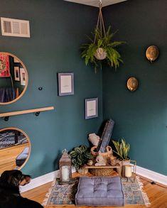 Yoga, zen, green, Barre, yoga space at home, zen space at home, fern, Barre space at home, mediation at home, green room, candles #meditationroomdecor