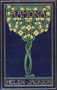 "Illustrated cover of this antique book, ""Ramona,"" by Helen Hunt Jackson, published in 1884."