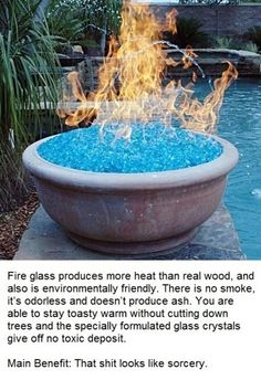 Great for outdoor gatherings - Fire Glass.  No smoke, scent, or ash.  Environmentally friendly.