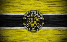 Download wallpapers Columbus Crew, 4k, MLS, wooden texture, Eastern Conference, football club, USA, Columbus Crew FC, soccer, logo, FC Columbus Crew