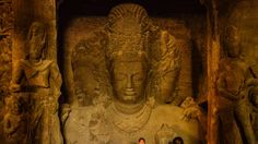 The Trimurti statues at Elephanta Caves near stand in testimony of time! Stuff To Do, Things To Do, Places Of Interest, Caves, Statues, Attraction, Miniatures, Museum