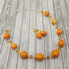 Paper Beads Necklace and Earring Set Orange and Amber