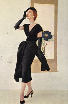 "Christian Dior, Late 1940's - Dior's late 1940's dressed marked the beginning of his ""new look"" line, representing a radical change in women's fashion"