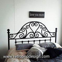 Faux Headboard, Headboard Decal, Painted Headboard, Headboards, Wrought Iron Beds, Steel Bed, Iron Furniture, Decoration, Girl Room