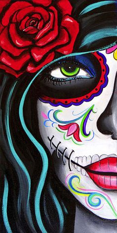 Green Eyes by Melody Smith canvas giclee.Design items include a day of the dead sugar skull.Made-to-order Giclee fine art reproductions on canvas featuring the original artwork of today's hottest tatt
