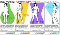 Best workout and eating plan for your body type. Been looking for a body type specific workout plan. Fitness Motivation, Fitness Diet, Health Fitness, Women's Health, Training Motivation, Fitness Plan, Body Type Workout, Curvy Workout, Girl Workout