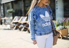 jumper sweater adidas denim tie dye blue leaf cute