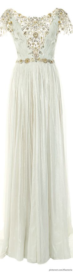 Marchesa ● Pre-Fall 2014, Pleated Silver Foil Chiffon Gown
