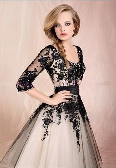 dress prom dress black lace prom black lace dress white dress ball gown floral sleaves