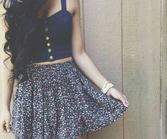 button up croptop and skirt