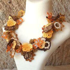 Charm Necklaces – Turkish OYA Lace - Necklace-BIJOU-Yellow – a unique product by DAISYcappadocia on DaWanda