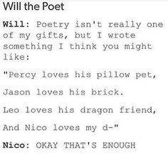 Shit, at first i thought it was Will Herondale Percy Jackson Ships, Percy Jackson Quotes, Percy Jackson Fan Art, Percy Jackson Books, Percy Jackson Fandom, Solangelo, Percabeth, Will Solace, Will Herondale