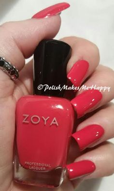 """A real deep coral! This is so pretty, Zoya """"LC"""", best described as a bright, creamy saturated coral red with a shiny creme finish.  I don't do many reds at all, but this is one that is just so beautiful!!! I did #stamp with Mundo de Uñas """"bones"""" using UberChic Beauty 1-02.  #pmmh #nailpictures #prettynails #notd"""