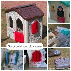 Give your playhouse an easy makeover with a little spraypaint! // LaptopsToLullabies.com