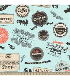 Anti-Pill Fleece Fabric-Vintage Coffee Badges Online Craft Store, Craft Stores, Natural Coffee, Vintage Labels, Vintage Coffee, Novelty Print, Joanns Fabric And Crafts, Fleece Fabric, Fabric Design