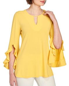 Solid Bell Sleeve Keyhole Tunic-Tops & Tees-Tops-Clothing-Women | Stein Mart Sleeves Designs For Dresses, Dress Neck Designs, Blouse Designs, Bold Fashion, Fashion Prints, African Fashion Dresses, Fashion Outfits, Dress Paterns, Blouse And Skirt