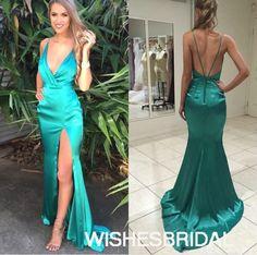 Wishesbridal Turquoise V Neck Satin Sweep Train #Backless Sleeveless Trumpet Mermaid Prom #Evening Dress Cwb0776