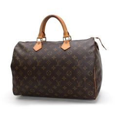 Louis Vuitton Speedy 35 Monogram Handle bags Brown Canvas M41524
