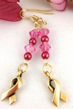 Pink Swarovski Crystal Breast Cancer Awareness Handmade Beaded Earring #Artfire #Swarovksi #Jewerly