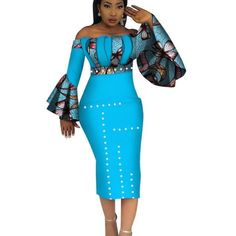 Image of 2018 Summer Dashiki Party Hot Vestidos for Women Cotton Print Traditional African Clothing nature dress Mid-Calf African Prom Dresses, Latest African Fashion Dresses, African Dresses For Women, African Print Fashion, Africa Fashion, African Attire, African Wear, African Prints, Traditional African Clothing