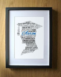 Masters Degree Graduation Gift for Boys - Graduate Print - Personalized Word Art Gifts Men - Congrat Graduation Gifts For Boys, Graduation Words, Personalized Graduation Gifts, Graduation Day, Grad Gifts, Masters Degree Graduation, Honours Degree, Blue Words, Nurse Gifts