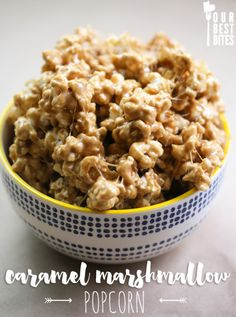 Caramel Marshmallow Popcorn from Our Best Bites. So gooey and delish! Caramel Marshmallow Popcorn from Our Best Bites. So gooey and delish! Popcorn Recipes, Snack Recipes, Dessert Recipes, Cooking Recipes, Easy Recipes, Popcorn Snacks, Flavored Popcorn, Popcorn Bar, Drink Recipes