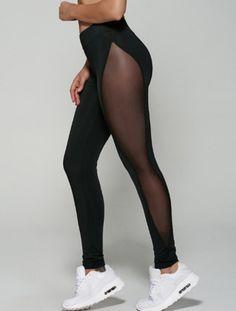 Leggings: yoga pants black tights sheer mesh workout black see through