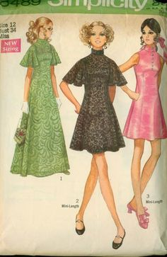 Items similar to Jr Size Bust Simplicity Vintage Sewing Pattern; Evening Dress Mini-dress and Slip on Etsy Vintage Outfits, Robes Vintage, Vintage Dresses, 1960s Dresses, Vintage Dress Patterns, Clothing Patterns, Retro Fashion, Vintage Fashion, Seventies Fashion