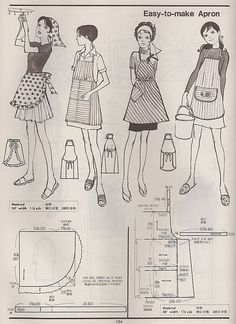 examples of vintage aprons from the Kamakura-Shobo Publishing Co. Pattern Drafting books Vol. and published in 1970 and Vintage Apron Pattern, Aprons Vintage, Vintage Sewing Patterns, Clothing Patterns, Apron Patterns, Floral Patterns, Textile Patterns, Sewing Aprons, Sewing Clothes