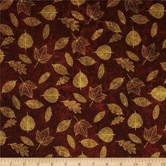 A New Leaf Leaves Brown from @fabricdotcom  Designed by Ro Gregg for Paintbrush Studios, this cotton print is perfect for quilting, apparel and home decor accents. Colors include shades of brown and metallic gold.