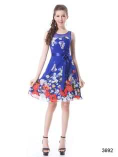 Gorgeous blue and floral chiffon party dress with sash