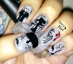 Nosferatu Scary Vampire Halloween Nail Art TUTORIAL #nail #nails #NailArt #NailPolish #NailDesign #NailTutorial #NailArtTutorial #Tutorial #Art #nosferatu #vampire #vampires #halloween