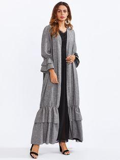 Shop Tiered Ruffle Bell Cuff And Hem Abaya online. SheIn offers Tiered Ruffle Bell Cuff And Hem Abaya & more to fit your fashionable needs. Abaya Fashion, Muslim Fashion, Modest Fashion, Boho Fashion, Fashion Dresses, Modern Abaya, Hijab Dress Party, Modele Hijab, Stylish Work Outfits