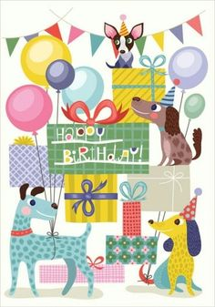 Happy Birthday Dogs Party by Helen Dardik animals pets colorful fun illustration greeting cards, celebration Birthday Wishes Quotes, Happy Birthday Messages, Happy Birthday Images, Happy Birthday Greetings, Birthday Pictures, Birthday Greeting Cards, Animal Birthday, Birthday Fun, Happy Birthday Illustration