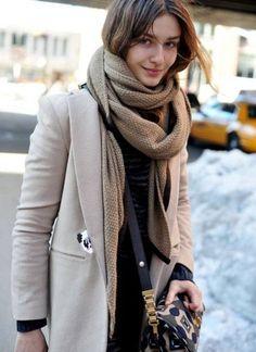 #coat #beige #scarf