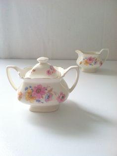 Mid Century W.S. George Sugar Bowl and Creamer by MariasFarmhouse