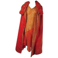 1920s Burnt Orange Velvet Metallic Dress with Cape.