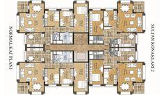 katta 4 daire planı ile ilgili görsel sonucu Apartment Projects, Apartment Plans, Apartment Design, High Rise Apartments, Floor Plan Layout, Mediterranean Style Homes, Craftsman Style House Plans, Luxury House Plans, Spanish House
