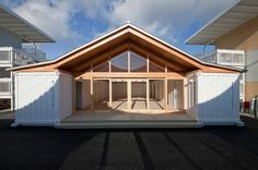 onagawa temporary container housing + community center by shigeru ban