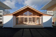 onagawa temporary container housing + community center by shigeru ban