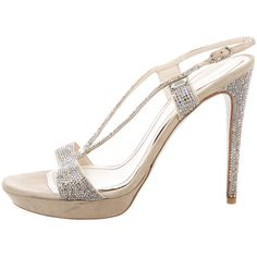 Pre-owned Rene Caovilla Crystal Slingback Sandals ($275) ❤ liked on Polyvore featuring shoes, sandals, silver, platform sandals, sling back shoes, slingback platform shoes, rene' caovilla sandals and platform shoes