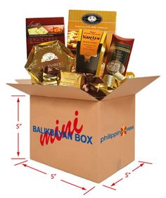 A balikbayan box, a cardboard box containing items sent by a Filipino that goes back to the Philippines.