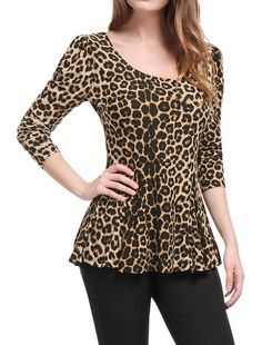 Women's Clothing, Tops & Tees, Blouses & Button-Down Shirts, Women's Long Sleeves Scoop Neck Leopard Prints Peplum Shirt - Beige Black - & Button-Down Shirts Mode Outfits, Fashion Outfits, Preppy Outfits, Ladies Fashion, Sexy Outfits, Make Up Studio, Peplum Shirts, Peplum Blouse, Beige