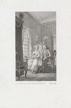 Reinier Vinkeles | Handwerk verrichtende vrouw in gesprek met een man, Reinier Vinkeles, 1779 | In een vertrek zitten een man en een vrouw aan een tafel te praten terwijl de vrouw handwerk verricht. Op de tafel staan schrijfspullen.