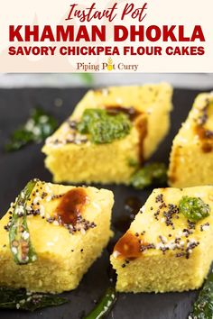 Instant Khaman Dhokla (Savory Chickpea Flour Cakes) - Soft and fluffy Khaman Dhokla is a popular Indian delicacy. These steamed savory chickpea flour cakes are perfect to enjoy for breakfast or snack! Khaman Dhokla, Indian Dessert Recipes, Vegetarian Breakfast Recipes Indian, Healthy Indian Snacks, Dhokla Recipe, Snack Recipes, Cooking Recipes, Indian Breakfast, Cake Flour